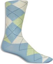 Light Blue & Green Cotton Argyle Socks