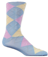 Light Blue & Pink Cotton Argyle Socks