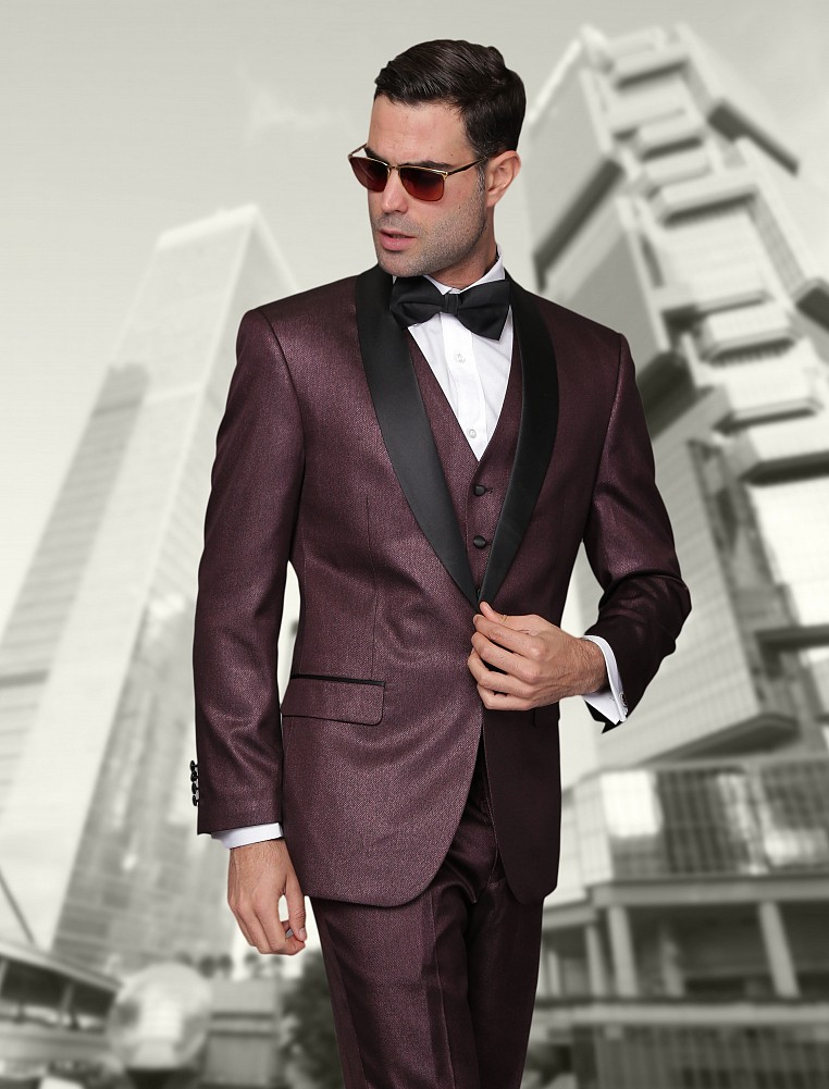 Statement Burgundy Shawl Top Hat Tuxedo