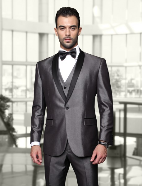 Statement Grey Shawl with Black Lapel